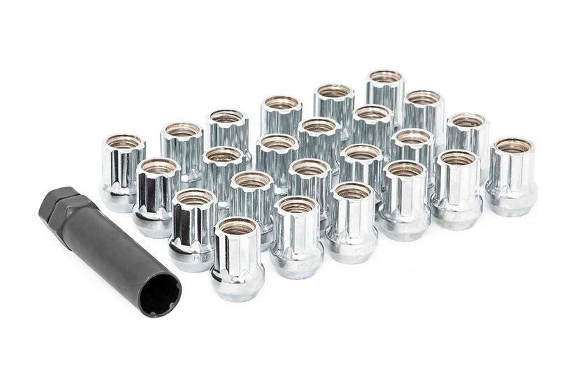 9/16x18 Wheel Installation Kit w/ Lug Nuts and Socket Key - Chrome Open End