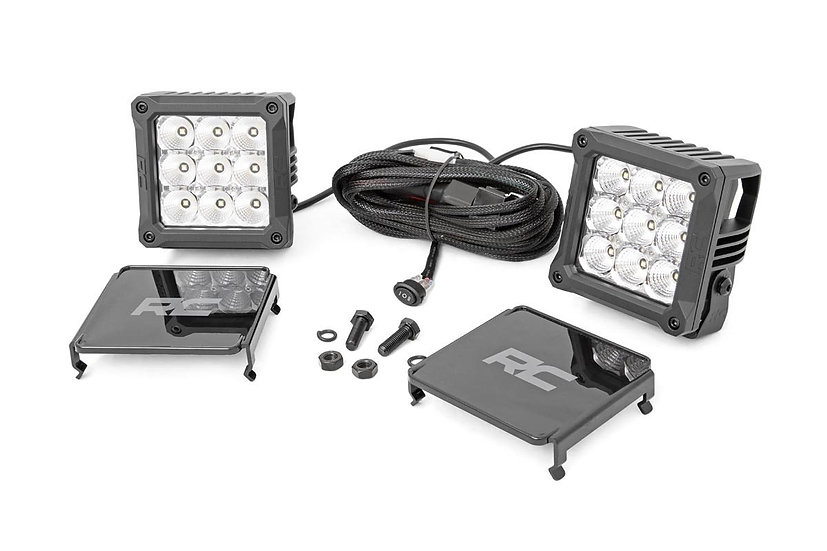 4-inch Square Cree LED Lights - (Pair | Chrome Series w/ Cool White DRL)