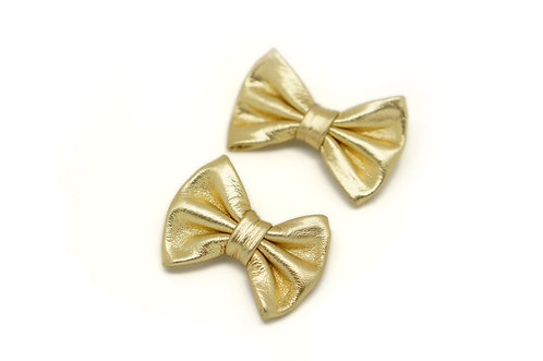 Leather bow clip / gold