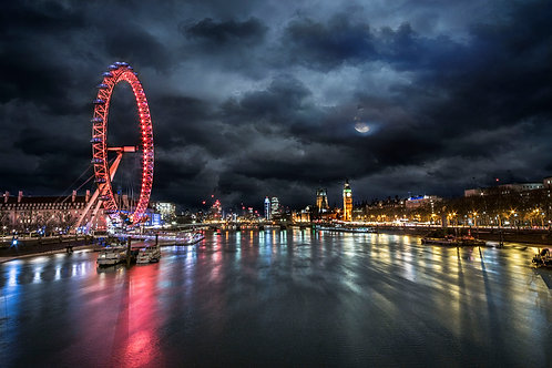 "London at Night from the Jubilee Bridge (20""x16"")"