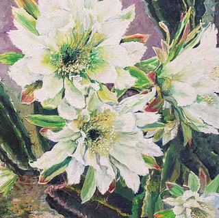 """Night-blooming Cereus"",  acrylics 14 x 18"""