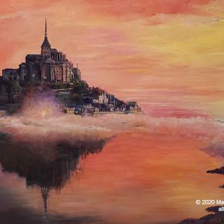 """Sunset at Mont St. Michel""  acrylics, gold leaf 2' x 3'"