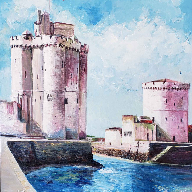 """The Towers of La Rochelle"" acrylics 16"" x 20"""