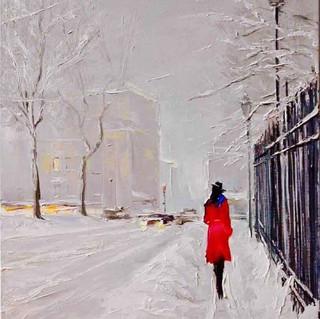 """""""City Snow"""". 20x20 Oil on Canvas"""