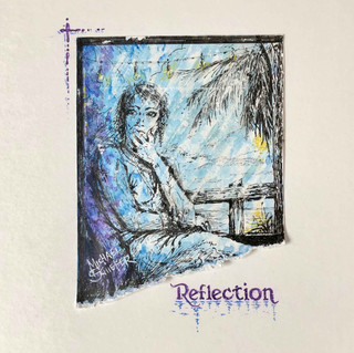"""""""Reflection"""", Ink and watercolor with hand-deckled edge and matte enhancement."""