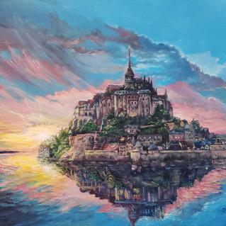 """""""Mont Saint Michel sunset"""", Acrylics 16 x 20"""""""