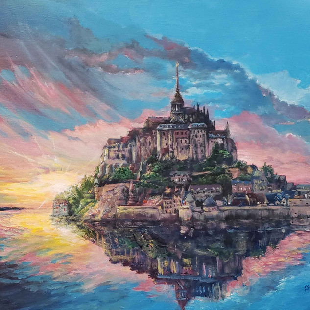 """Mont Saint Michel sunset"", Acrylics 16 x 20"""