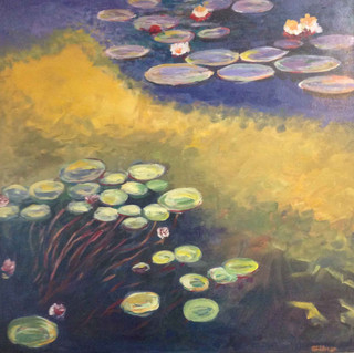 """""""Water Lilies"""", 48""""X48"""" acrylic on heavy canvas"""