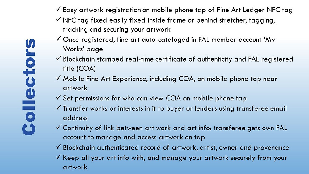 The Fine Art Ledger Art Collector NFC Blockchain