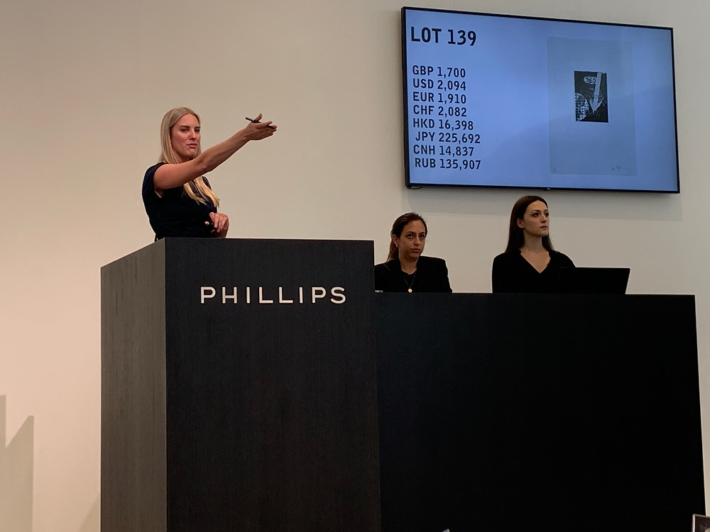 Art auction at Phillips Auction house in London