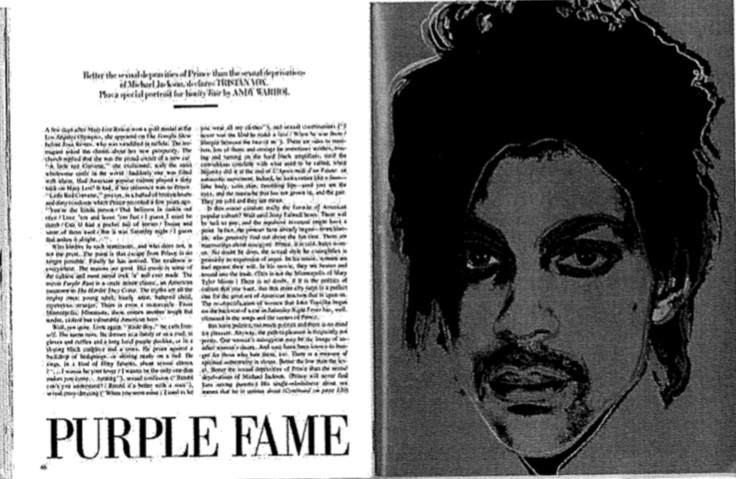 Prince Vanity Fair The Fine Art Ledger Andy Warhol The Fine Art Ledger Fine Art Blockchain