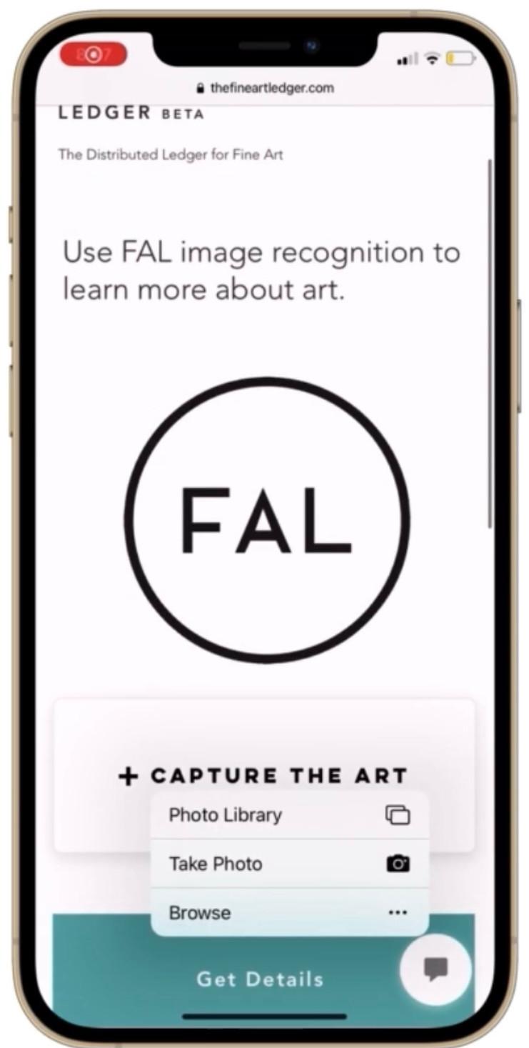 Art blockchain image recognition with The Fine Art Ledger