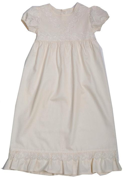 Крестильное платье с панамой (молочное)
