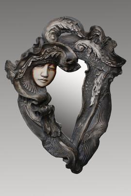 black face mirror 19x16x4 in