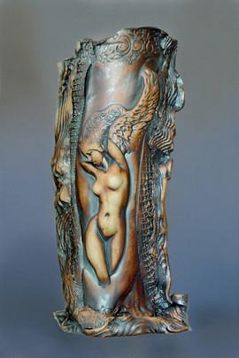 Winged Goddess Vase 15x7x5 in
