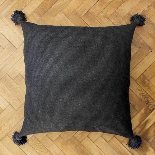 Maxi housse de coussin carré anthracite en laine