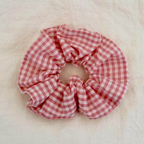 Chouchou oversized vichy rose et blanc