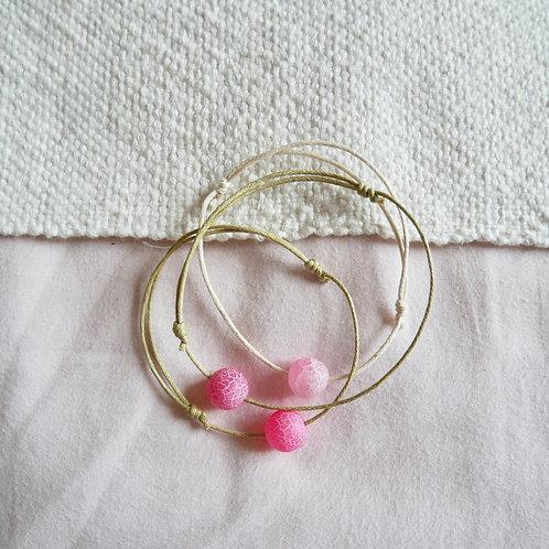 Les bracelets perle d'Agate rose mat