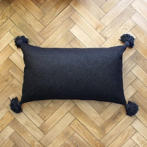 Maxi housse de coussin rectangle, lainage anthracite effet carreaux