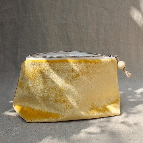 Trousse de toilette Doudou : velours jaune vif