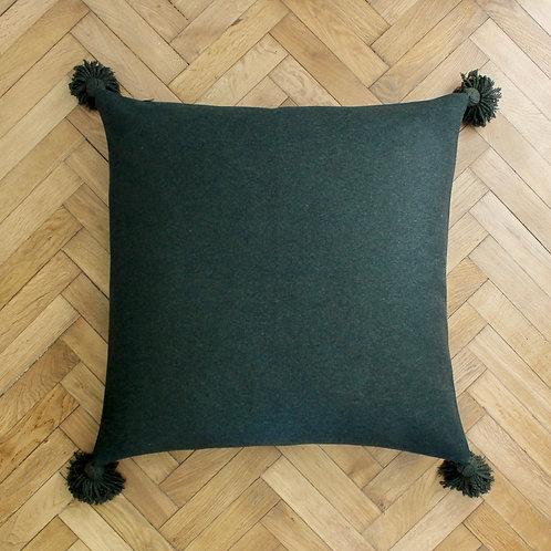 Maxi housse de coussin carré vert en laine