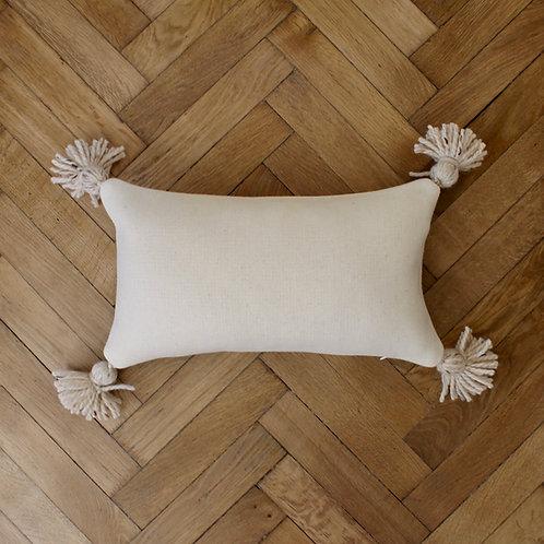 Housse de coussin rectangle, lainage crème