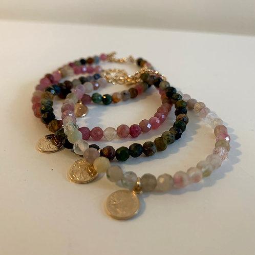 Bracelet Tourmaline + pendentif Franc