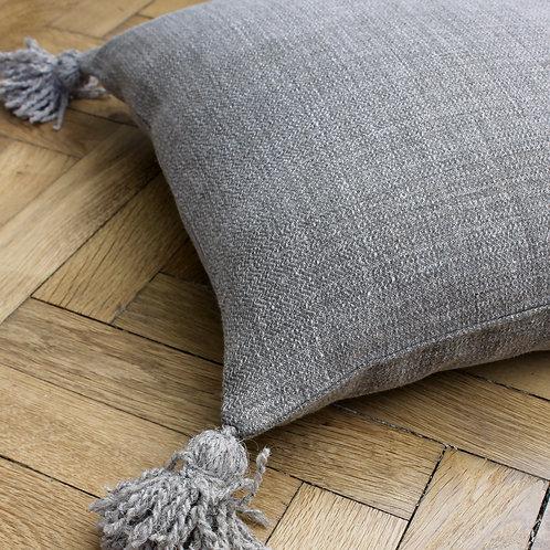 Housse de coussin carré gris en lin