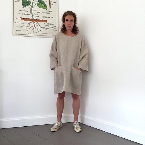 Robe Tablier en lin naturel