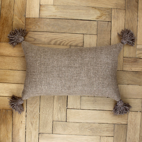 Housse de coussin rectangle en lin rouille