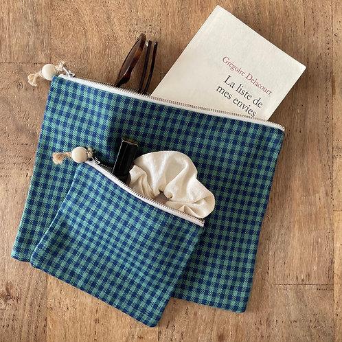 Pochette rectangle en lainage bleu et vert à carreaux