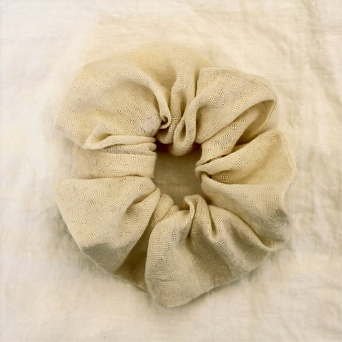 Chouchou oversized en coton  crème effet dentelle