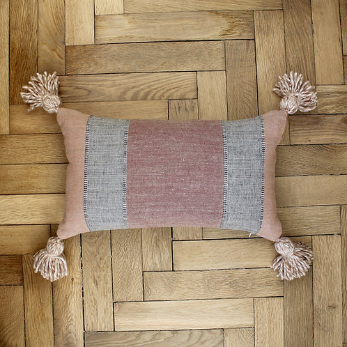 Housse de coussin rectangle en lin rayé rouille