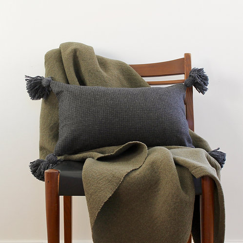 Housse de coussin rectangle, lainage anthracite effet carreaux