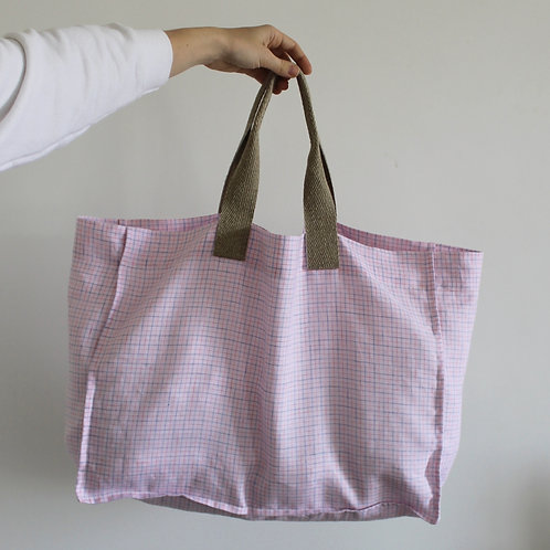 Cabas Cube en lin rose à carreaux