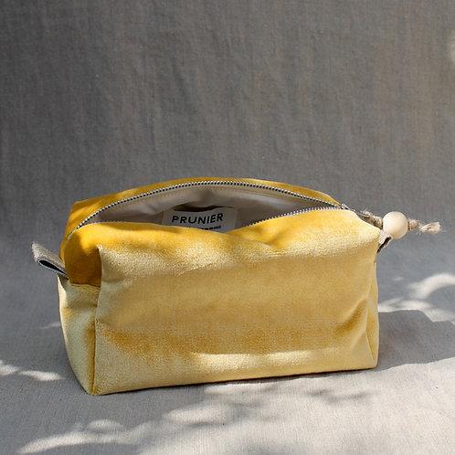 Trousse de toilette Bébé : velours jaune vif