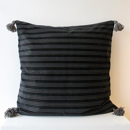 Housse de coussin de sol en velours rayé gris et noir