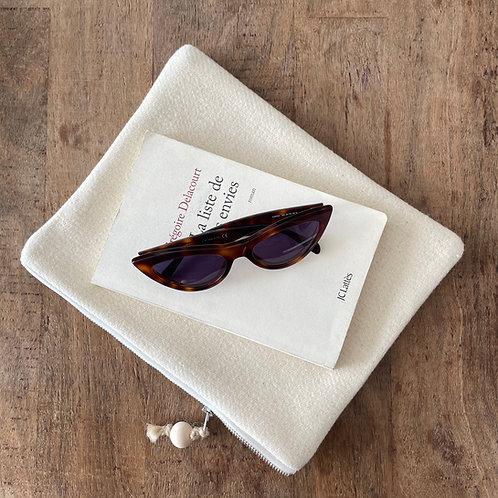 Pochette rectangle en lainage crème