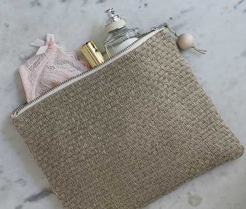 Trousse rectangle en lin naturel effet toile de jute