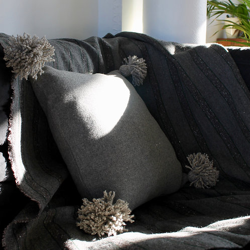 Housse de coussin carré gris en laine