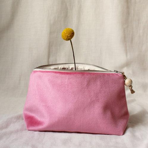 Trousse de toilette Doudou : velours rose bonbon vif