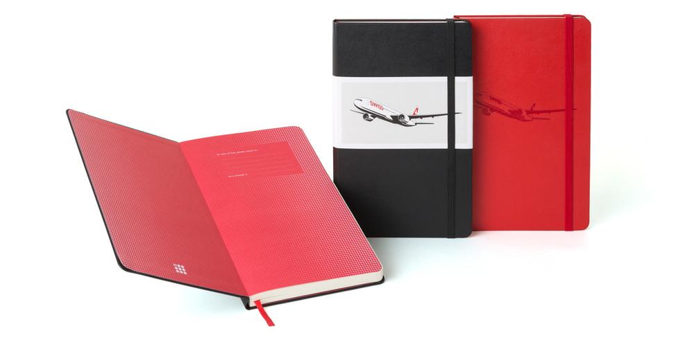 Prägung zur Veredelung der Notizbücher für Swiss Airline - Notizgold