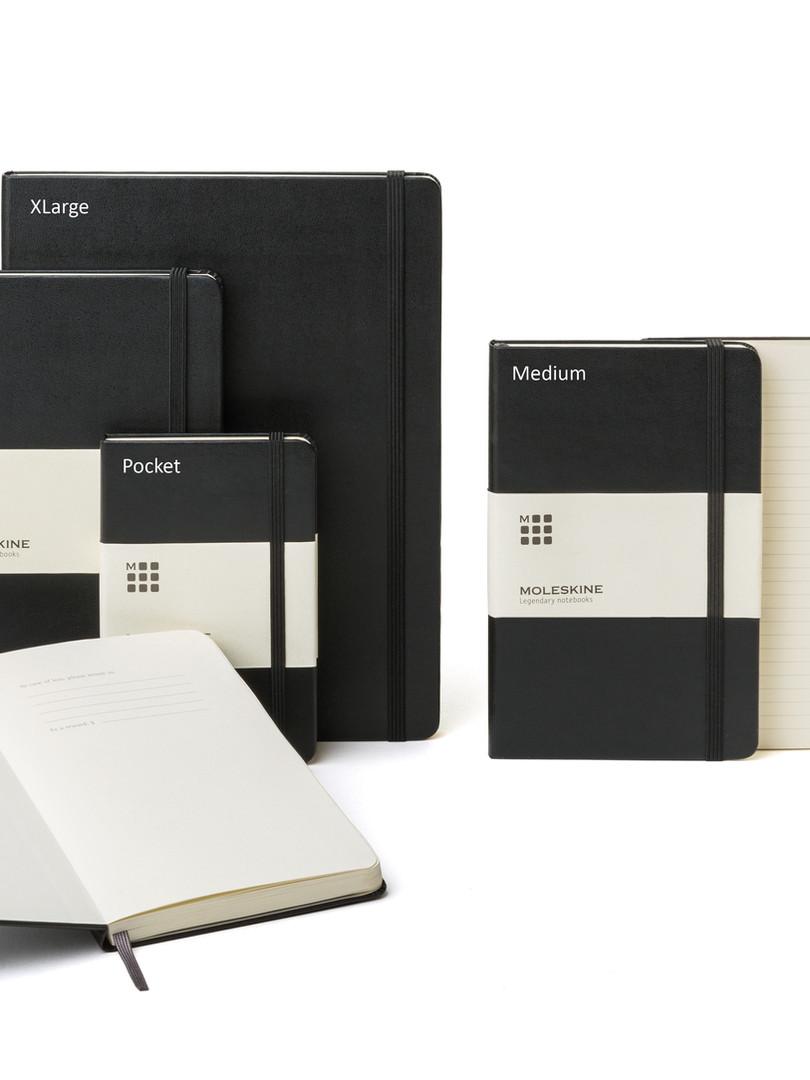 Verschiedene Formate von Moleskine Notizbüchern bei Notizgold
