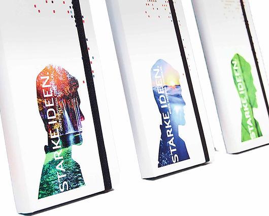 Digitaldruck zur Veredelung hochwertiger Notizbücher mit Logo