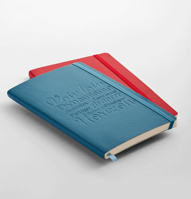 Blindprägung als Veredelung von Moleskine Notizbüchern