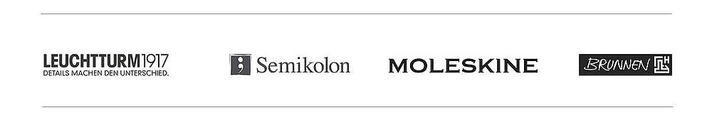 Die Marken-Notizbücher bei Notizgold - Leuchtturm1917, Semikolon, Moleskine, Brunnen