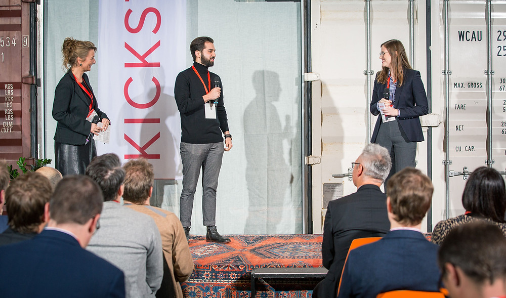 Kickstart 2019 - Left to right, Christina Senn-Jakobsen from Kickstart, Alejandro Franco from Kaffe Bueno, Lucie Kendall from M-Industry on stage at Kickstart 2019 Closing Ceremony