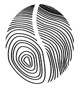 Kaffe Bueno logo - finger print in the form of a coffee bean