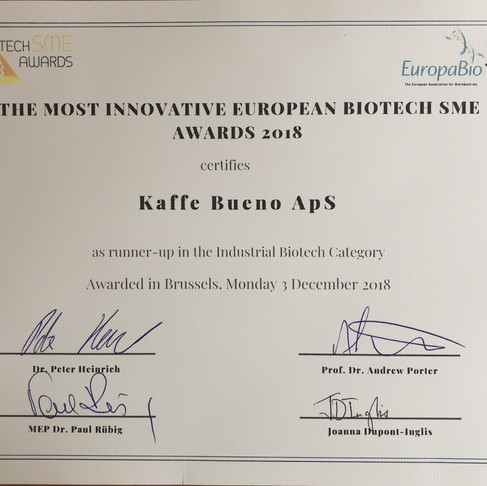 Kaffe Bueno Awarded Runner-Up as Most Innovative Industrial Biotech SME in Europe by EuropaBio.