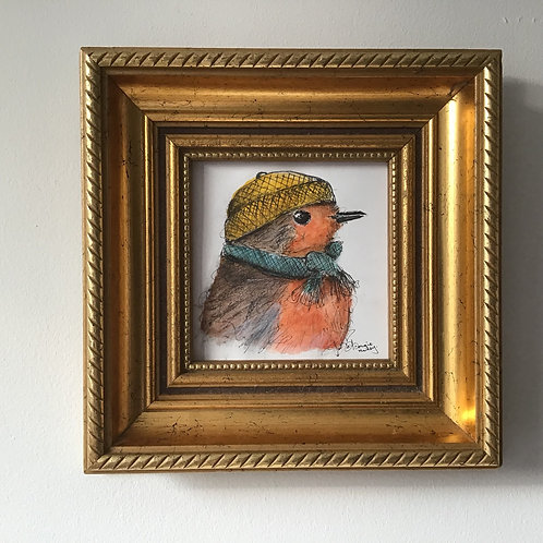 'Robin#3' FRAMED Signed original.